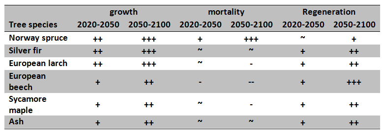 Table 1: Mid- to longterm tree species sensitivities towards projected climate change for the three forest ecosystem processes. (+ increase, ~ no change, - decrease)