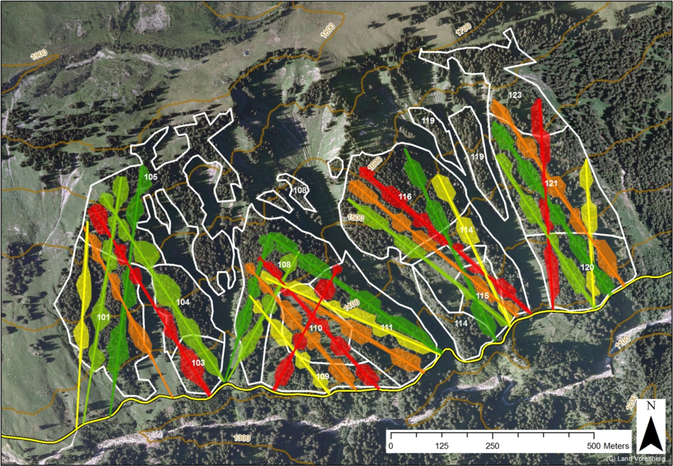 Figure MO-3: Slit and patch cuts as performed under current management as planned over 100 years for a forest compartment of ca. 70 ha. The colors of the slits cuts and skyline tracks indicate 20 year time periods from green to red (from 2010 to 2110). The stands are displayed in white and the road at the bottom of the slope in yellow. This approach results in a virtual rotation period of 250 years.
