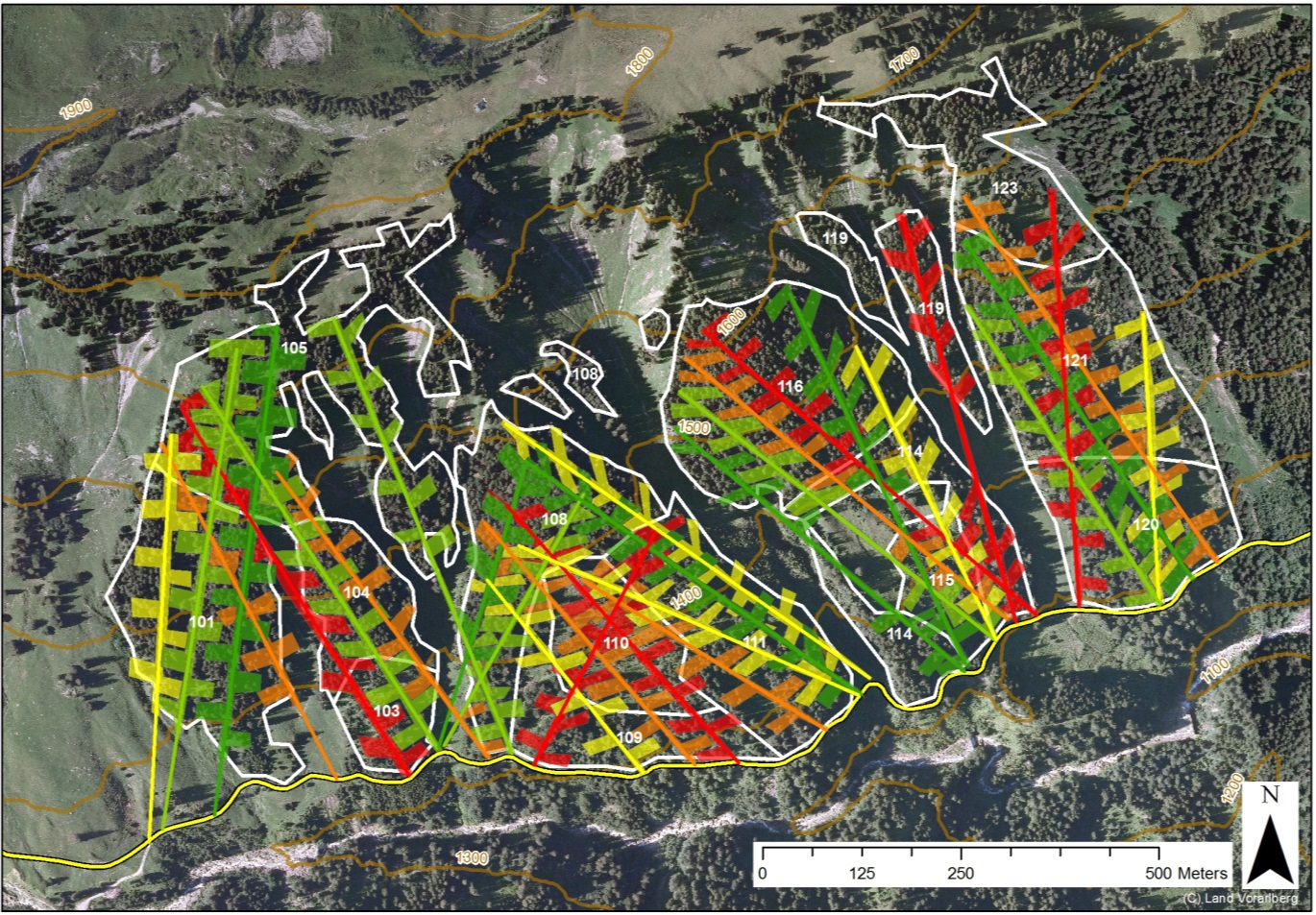 Figure MO-4: Fishbone shaped slit cuts as proposed as an adaptation measure planned over 100 years for a forest compartment of ca. 70 ha. The colors of the slits cuts and skyline tracks indicate 20 year time periods from green to red (from 2010 to 2110). The stands are displayed in white and the road at the bottom of the slope in yellow. This approach results in a faster turnover of tree generations by 20%.
