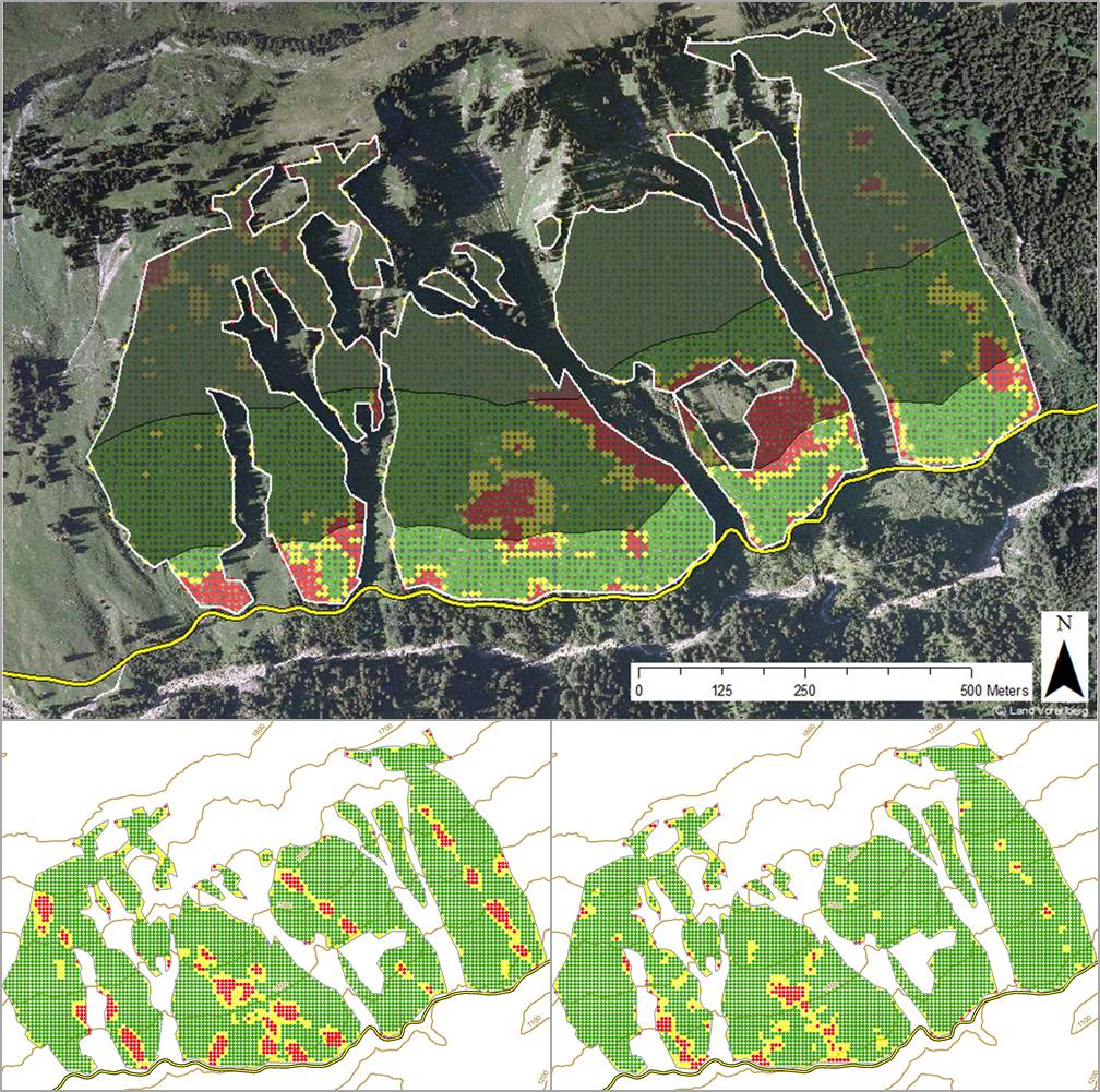 Figure MO-8: Visualization of the protection efficiency against landslides for the current forest conditions (year 2010, on top). The road (displayed at the bottom of the map; yellow line) is the object to be protected. The white lines delineate the analysis area. The results of the assessment are presented as colored pixels (a) green (optimal requirements met), (b) yellow (minimal requirements met) and (c) red (requirements not met). The shading of the map increases with distance from the road (300 m dark grey shading). Bottom left hand side: the protection against landslides for the current management under climate change in the year 2100 is shown. Bottom right hand side: results for the recommended management under climate change in the year 2100.