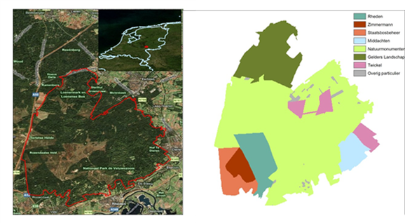 Figure 1. Location of the case study area, and a map showing the main ownerships